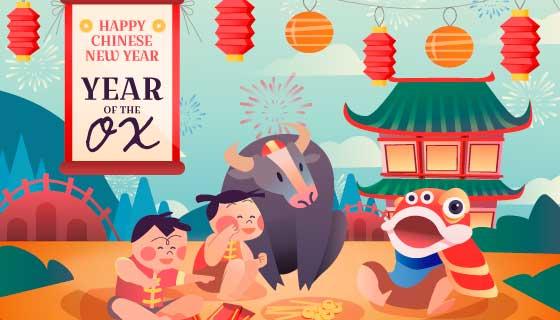 多彩喜庆的牛年春节快乐矢量素材(AI/EPS)