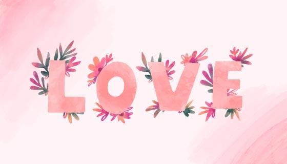 水彩花卉设计LOVE字母情人节矢量素材(EPS)