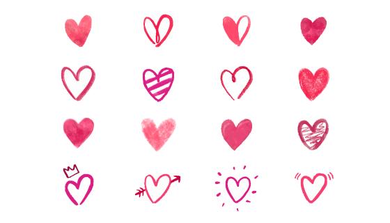 十六个手绘爱心集合矢量素材(EPS)