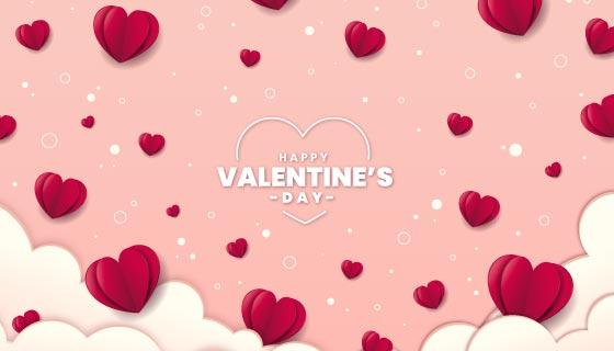 折纸爱心设计情人节快乐背景矢量素材(AI/EPS)