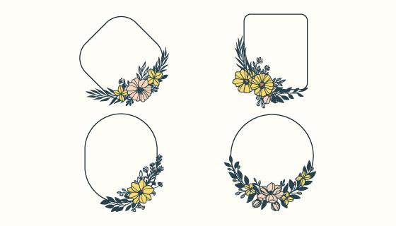 四个花朵设计的边框矢量素材(AI/EPS/PNG)