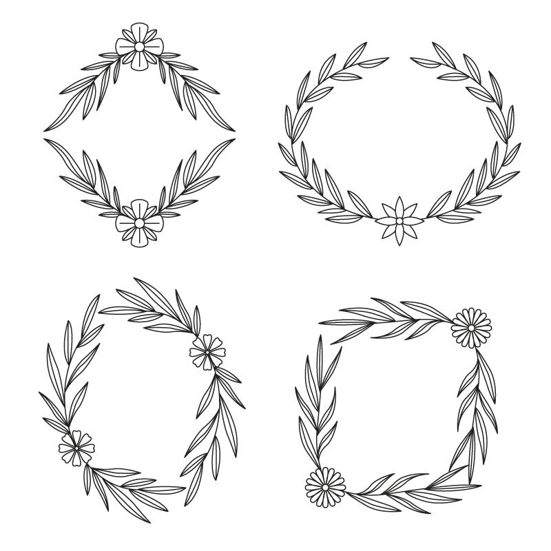 四个花朵设计的黑色边框矢量素材(AI/EPS/免扣PNG)