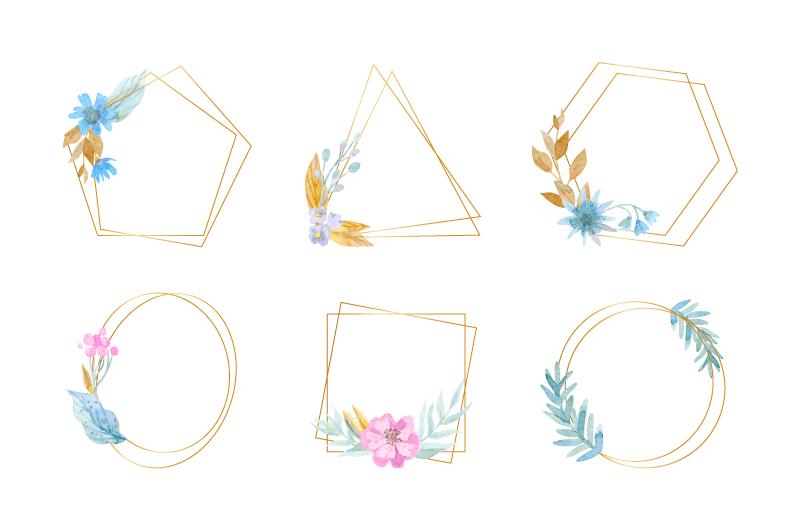 六个水彩花朵设计的金色边框矢量素材(AI/EPS/免扣PNG)