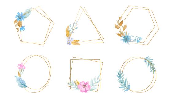 六个水彩花朵设计的金色边框矢量素材(AI/EPS/PNG)