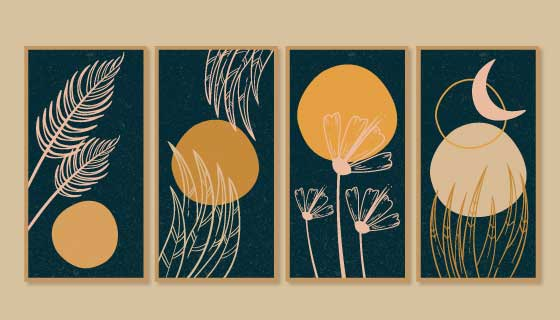 四张金色植物封面矢量素材(AI/EPS)