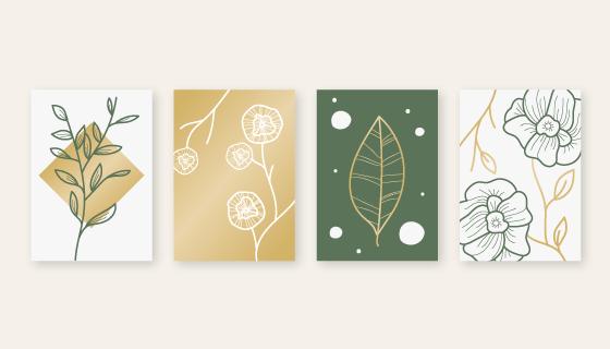 四张简约设计植物封面矢量素材(AI/EPS)