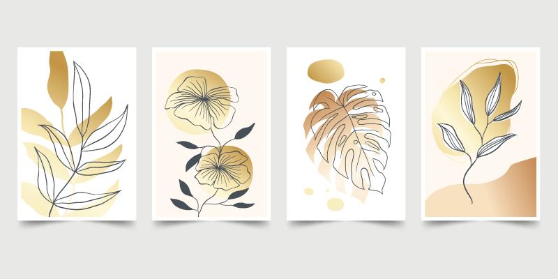 四张抽象设计植物封面矢量素材(AI/EPS)