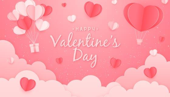 折纸爱心热气球设计情人节快乐背景矢量素材(AI/EPS)