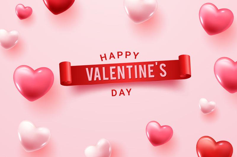 逼真立体的爱心设计情人节快乐背景矢量素材(EPS)