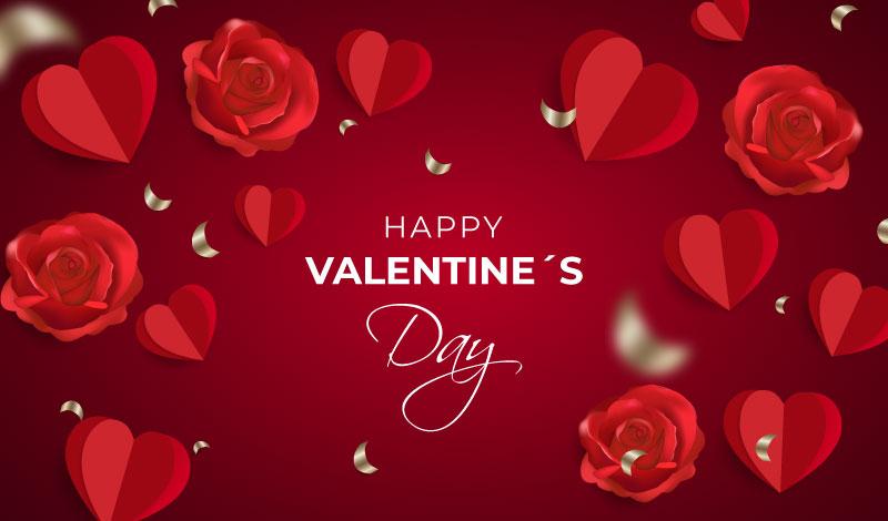 火红的爱心和玫瑰花设计情人节快乐背景矢量素材(AI/EPS)