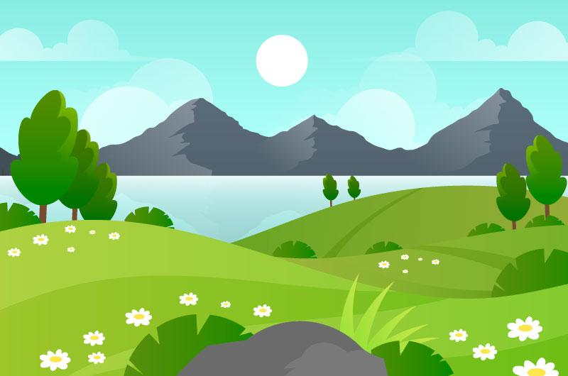扁平风格的春天景色矢量素材(AI/EPS)