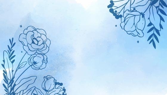 浅蓝色水彩花卉背景矢量素材(AI/EPS)