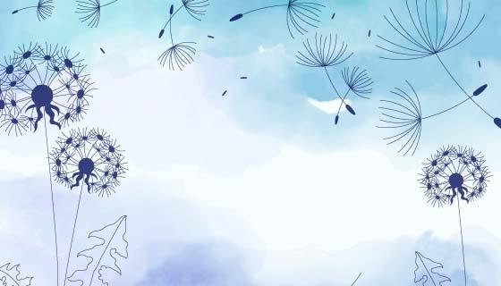 浅蓝色水彩蒲公英背景矢量素材(AI/EPS)