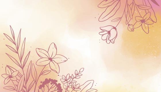 浅橙色水彩花卉背景矢量素材(AI/EPS)