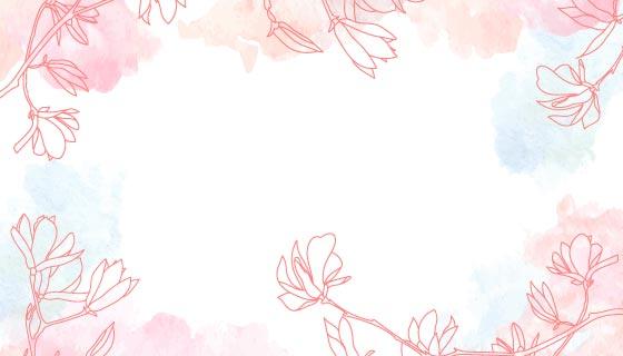 粉红色水彩花卉背景矢量素材(AI/EPS)