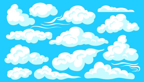 各种形状的白云集合矢量素材(EPS)