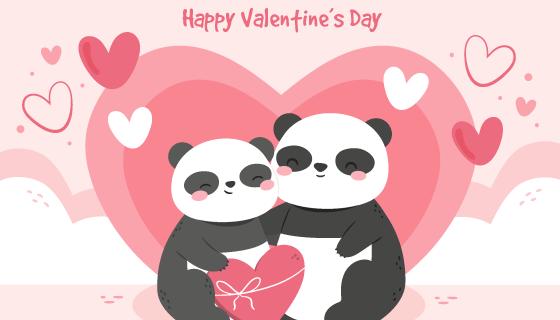 熊猫情侣设计情人节背景矢量素材(AI/EPS)