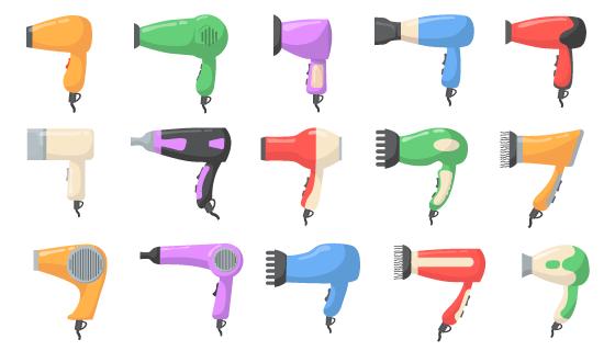 各种各样的吹风机矢量素材(EPS/PNG)