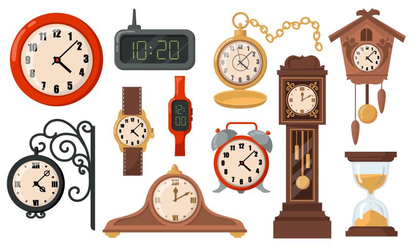 各种各样的钟表矢量素材(EPS/免扣PNG)