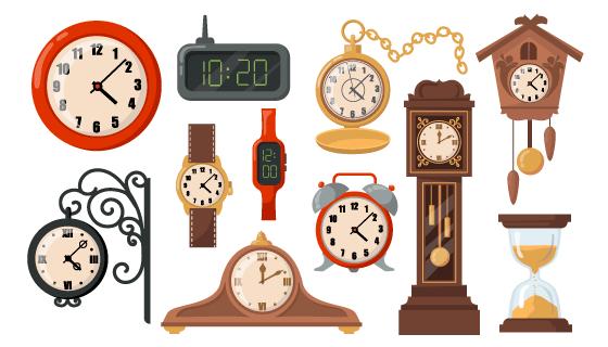各种各样的钟表矢量素材(EPS/PNG)