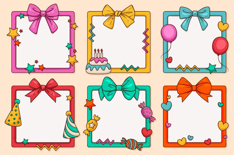 可爱的生日拼贴相框矢量素材(AI/EPS/免扣PNG)