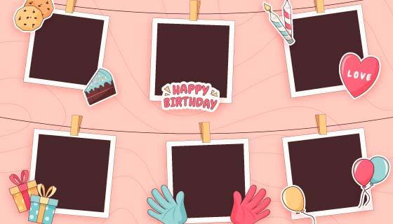 可爱的生日拼贴相框矢量素材(AI/EPS)