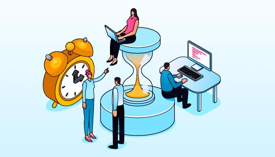 时间管理概念设计插画矢量素材(AI/EPS)
