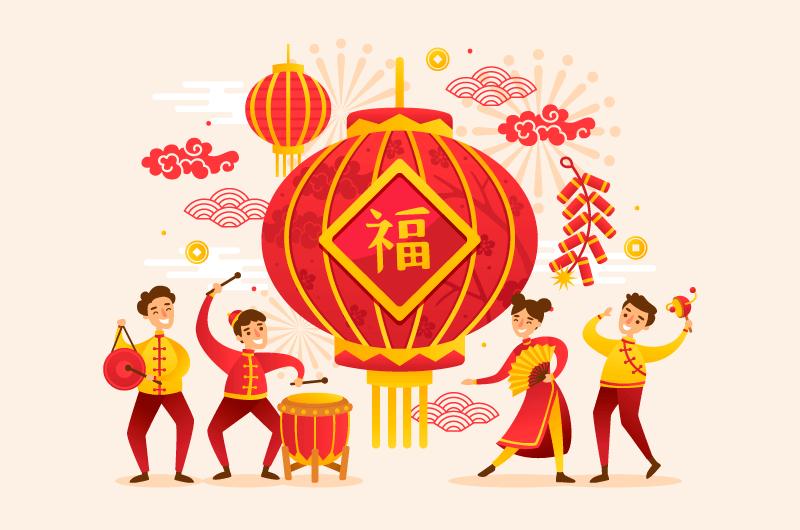 开心庆祝春节的人们矢量素材(EPS)