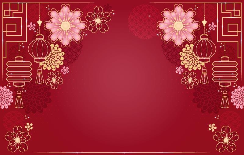 灯笼窗花设计春节快乐背景矢量素材(EPS)