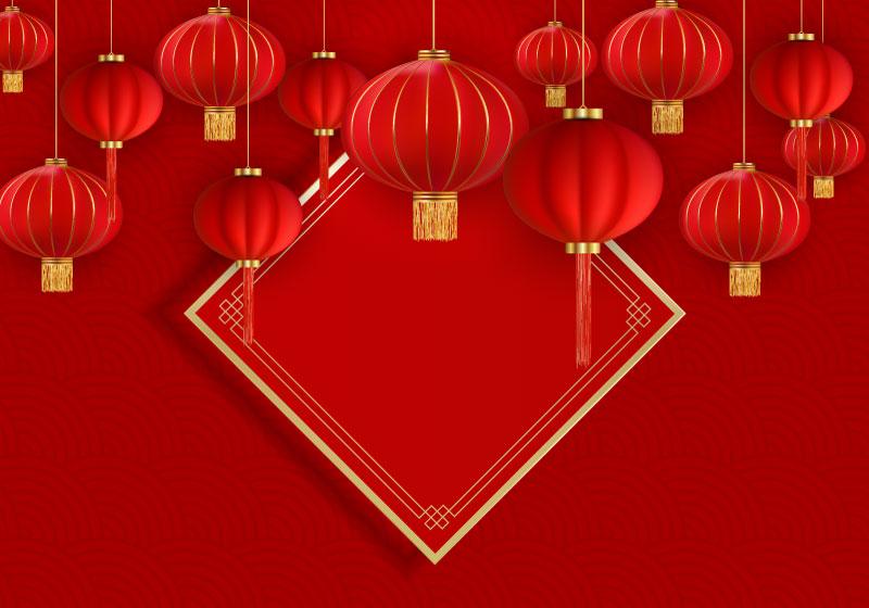 火红灯笼设计春节快乐背景矢量素材(EPS)