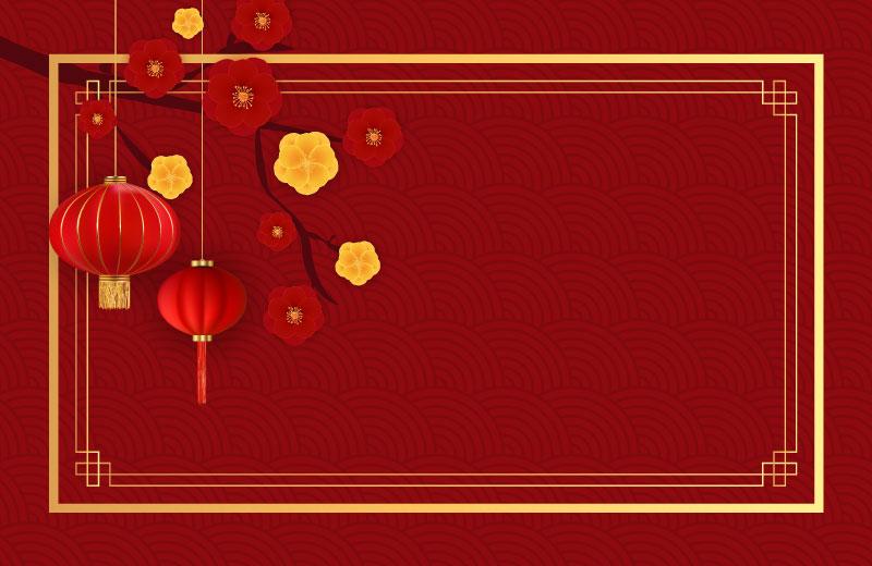 灯笼和梅花设计春节快乐背景矢量素材(EPS)