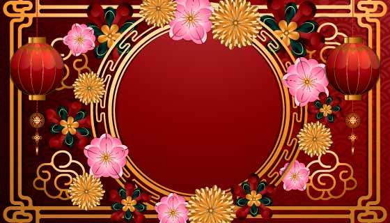 多彩绚丽的春节快乐背景矢量素材(EPS)
