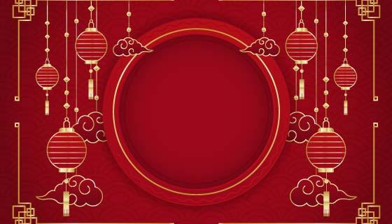 金色灯笼设计春节快乐背景矢量素材(EPS)