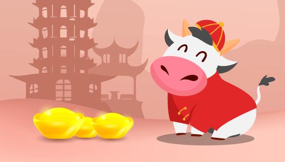开心的牛和元宝设计2021春节快乐矢量素材(EPS)