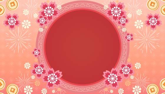 花朵金币烟花设计春节快乐背景矢量素材(EPS)