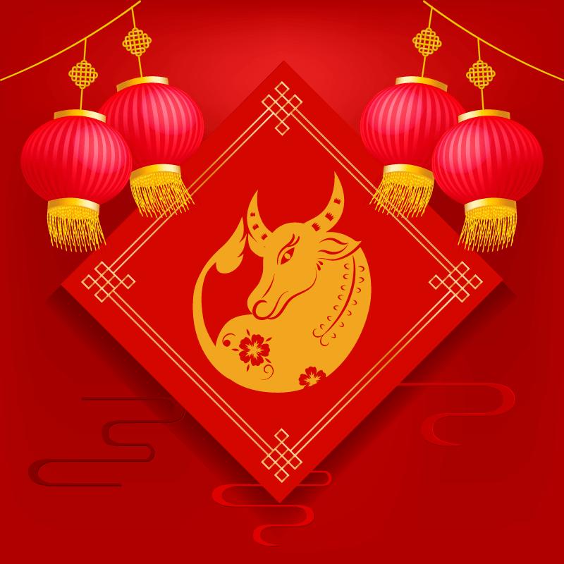 金牛和灯笼设计春节快乐矢量素材(EPS)