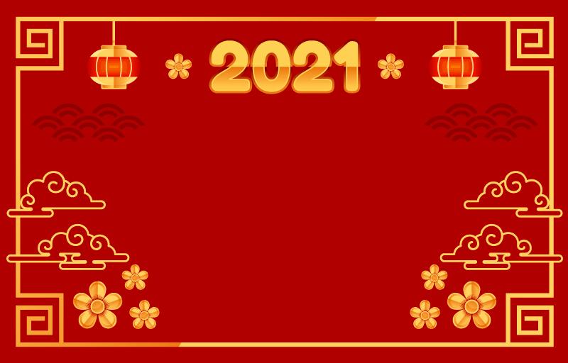 金色设计的2021春节背景矢量素材(EPS)
