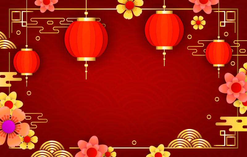 灯笼和花朵设计春节背景矢量素材(EPS)