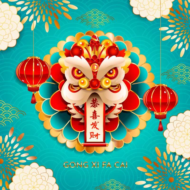 狮子头和灯笼设计恭喜发财矢量素材(EPS)