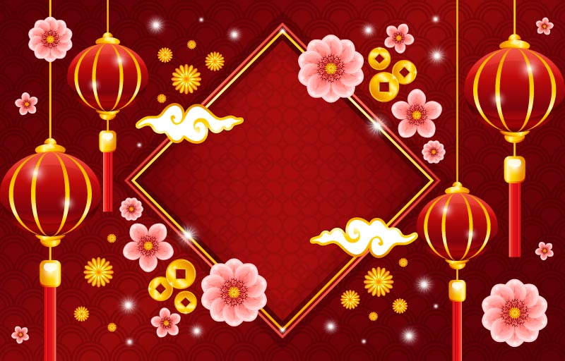 灯笼和梅花设计春节背景矢量素材(EPS)