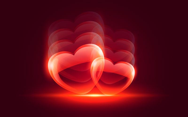闪亮的爱心情人节背景矢量素材(EPS)