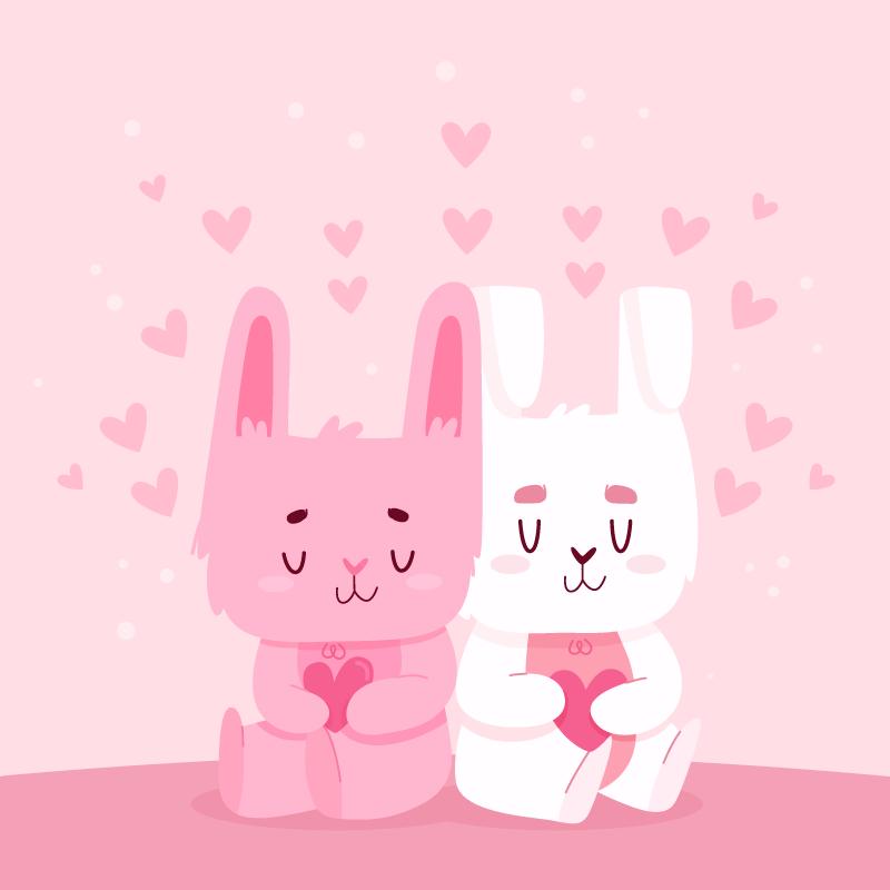 抱着爱心的兔子情侣矢量素材(AI/EPS)