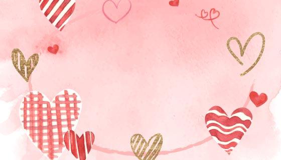 水彩风格的爱心矢量素材(EPS)