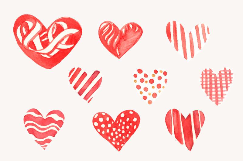 九个不同的爱心矢量素材(EPS)
