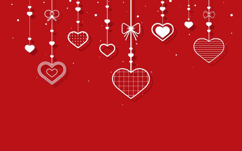 爱心吊坠红色背景矢量素材(EPS)