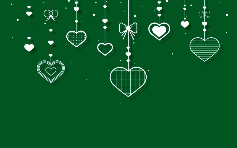 爱心吊坠绿色背景矢量素材(EPS)