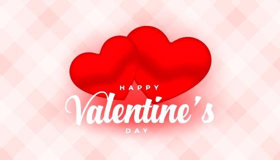 两颗靠在一起的红心设计情人节快乐背景矢量素材(EPS)