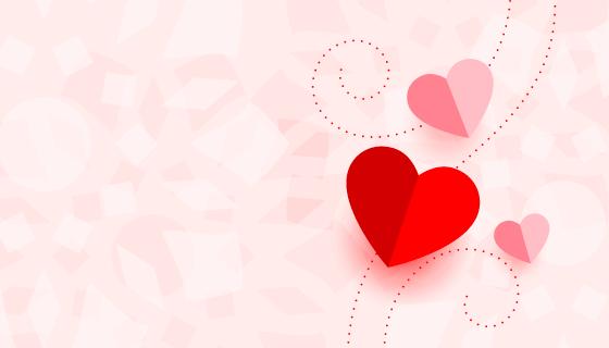 折纸爱心设计情人节背景矢量素材(EPS)