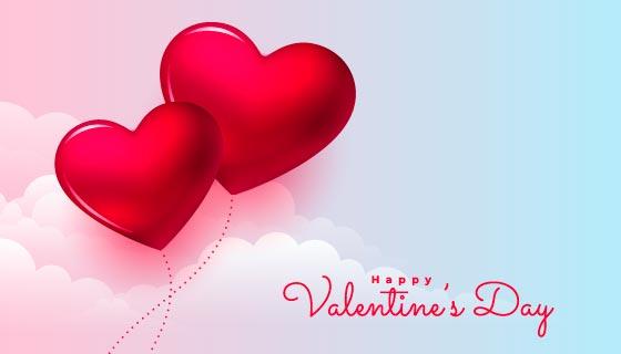 浪漫的爱心情人节快乐背景矢量素材(EPS)