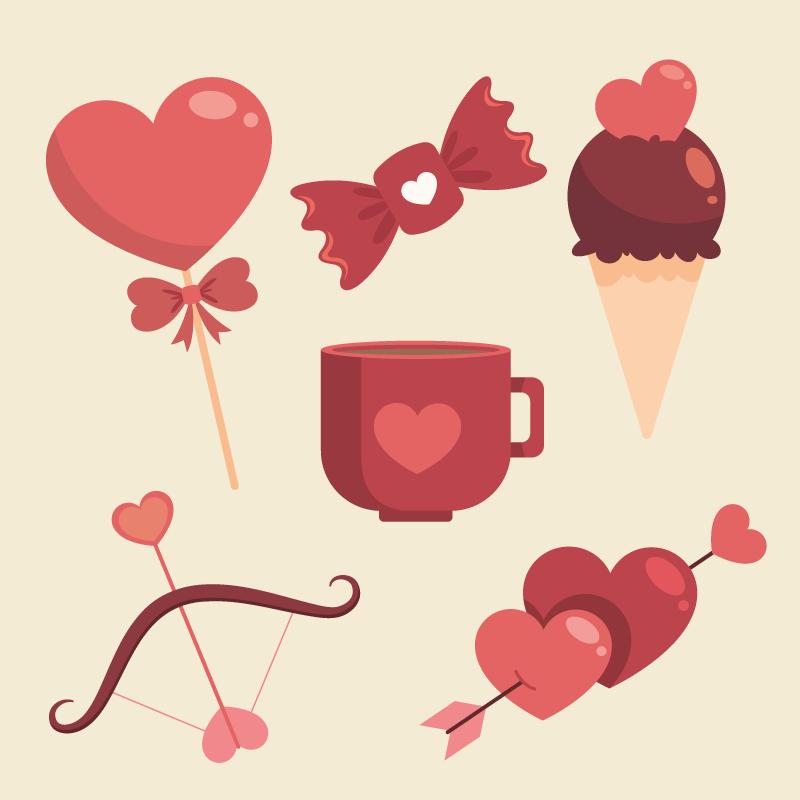 扁平风格的情人节元素矢量素材(AI/EPS)